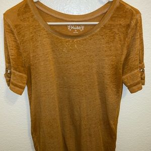 scoop neck mustard yellow top